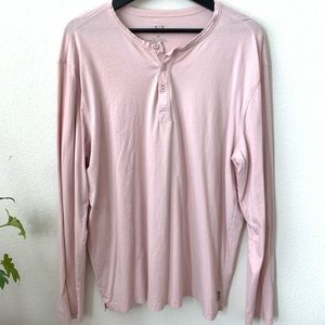 A|X Men's Pink Long Sleeve 3 Button V Neck Shirt